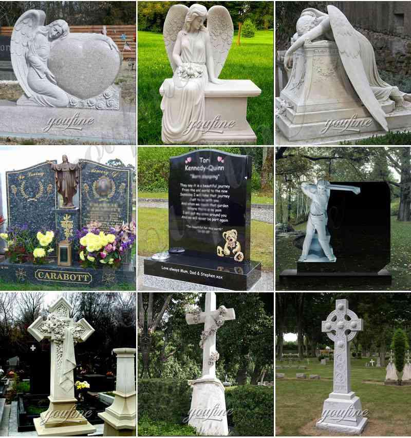 Marble angel memorials headstones for sale