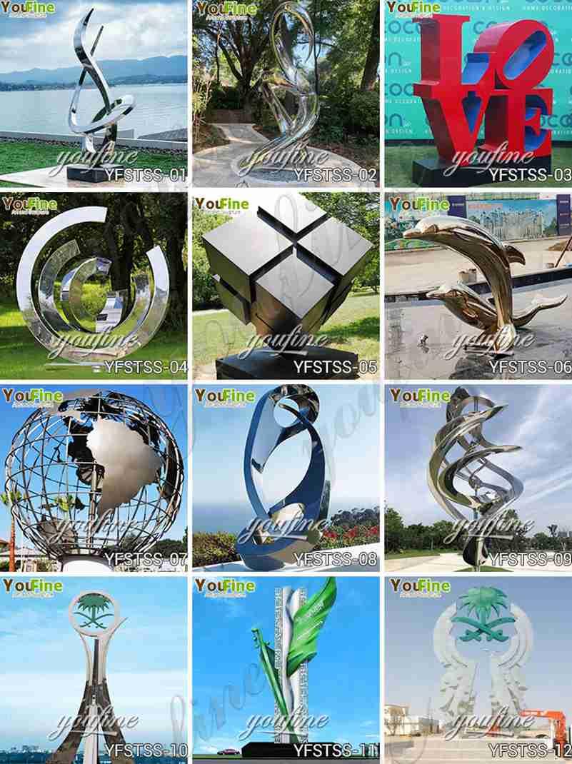 Modern Stainless Steel Outdoor Cube Sculpture