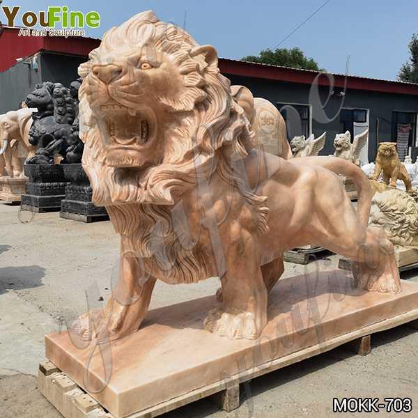 Natural Beige Marble Walking Lion Statues for Sale