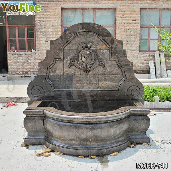 Garden Natural Black Granite Wall Fountain with Flora for Sale MOKK-741