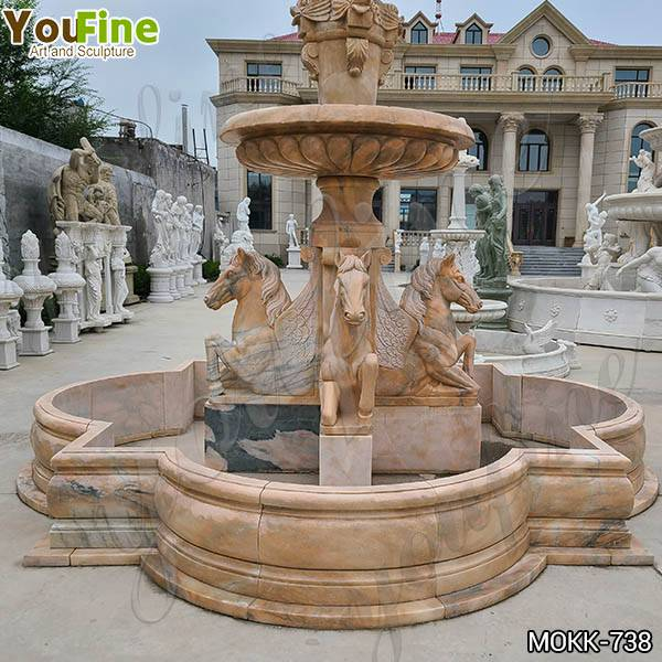 Natural Tiered Marble Water Horse Fountains for Sale