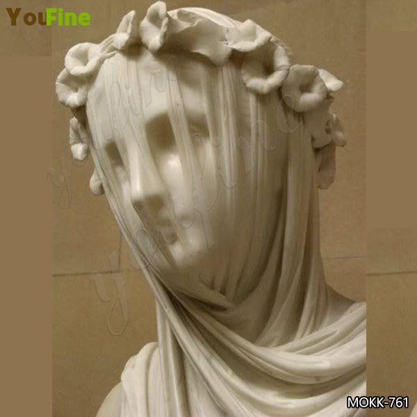 Natural White Marble Veiled Lady Bust Sculpture for Sale
