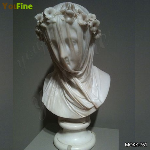 Natural White Marble Veiled Lady Bust Sculpture