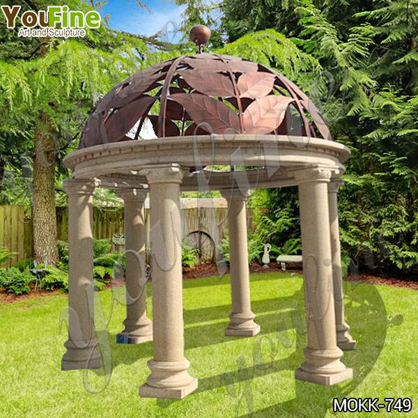 Ornate Outdoor Beige Marble Gazebo Garden Decoration Factory MOKK-749