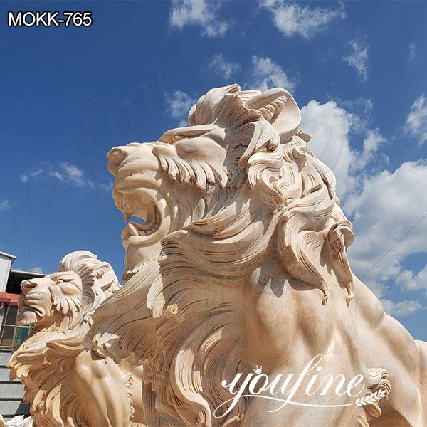 Outdoor Beige Marble Lion Yard Statues for Driveway SuppliersOutdoor Beige Marble Lion Yard Statues for Driveway Suppliers