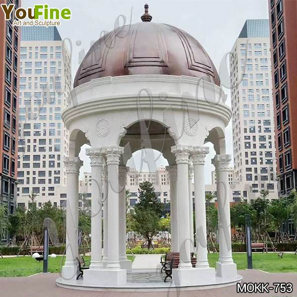 Outdoor Decoration Double Column Marble Gazebo China Factory MOKK-753