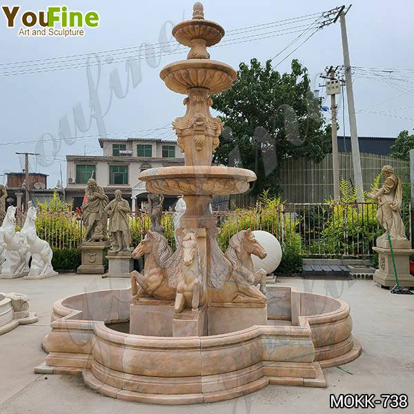 Outdoor Natural Tiered Marble Water Horse Fountain for Sale MOKK-738