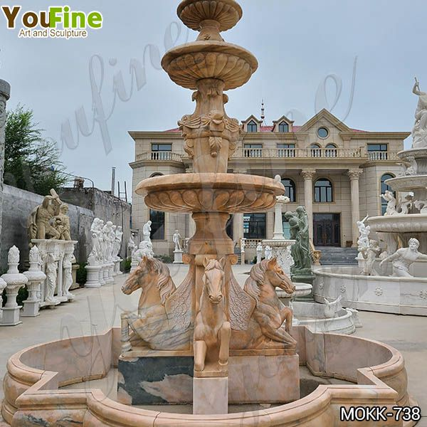 Outdoor Natural Tiered Marble Water Horse Fountains