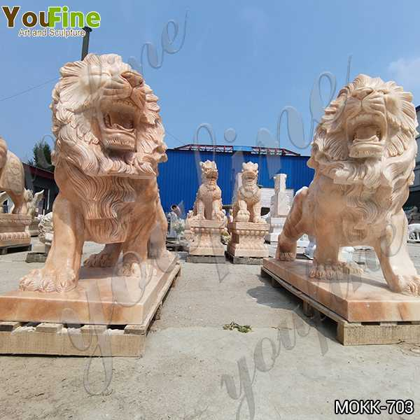 Pair of Natural Beige Marble Walking Lion Statues