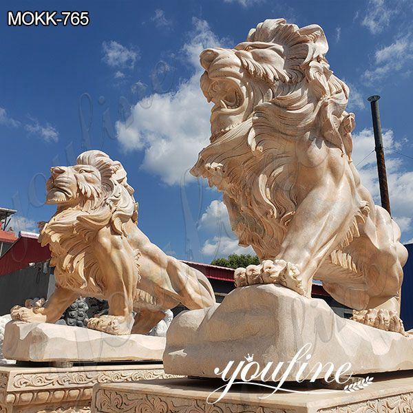 Pair of Outdoor Beige Marble Lion Yard Statues for Driveway Suppliers