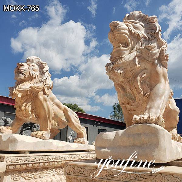 Pair of Outdoor Beige Marble Lion Yard Statues for Driveway Suppliers MOKK-765