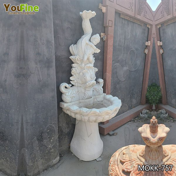 Small Size White Marble Water Angel Fish Wall Fountain for Sale MOKK-757