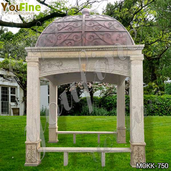 Antique Style Sandstone Gazebo with Metal Hat for Sale MOKK-750