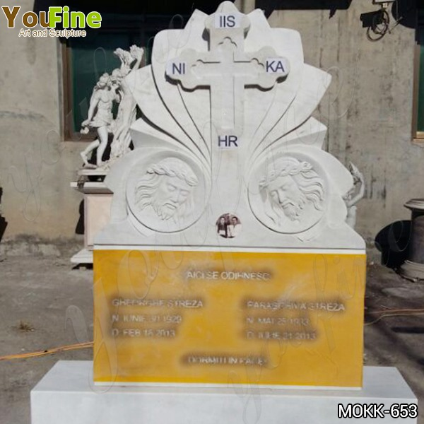 White Marble Cross Upright Headstone from Factory Supply