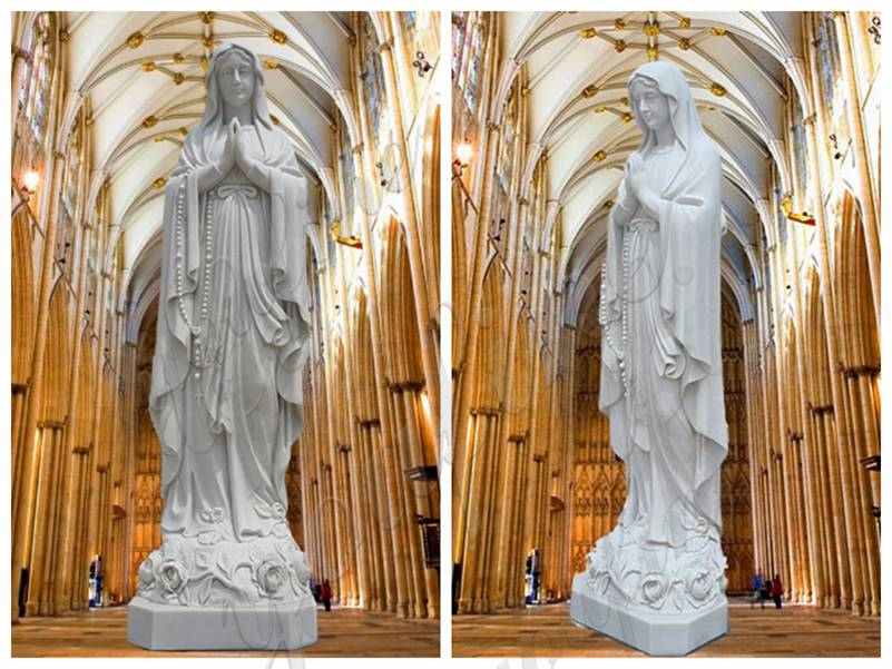 White Marble Our Lady of Lourdes Statue Factory Direct