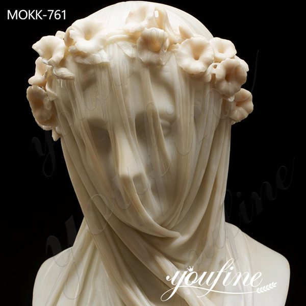 Natural White Marble Veiled Lady Bust Sculpture for Sale MOKK-761