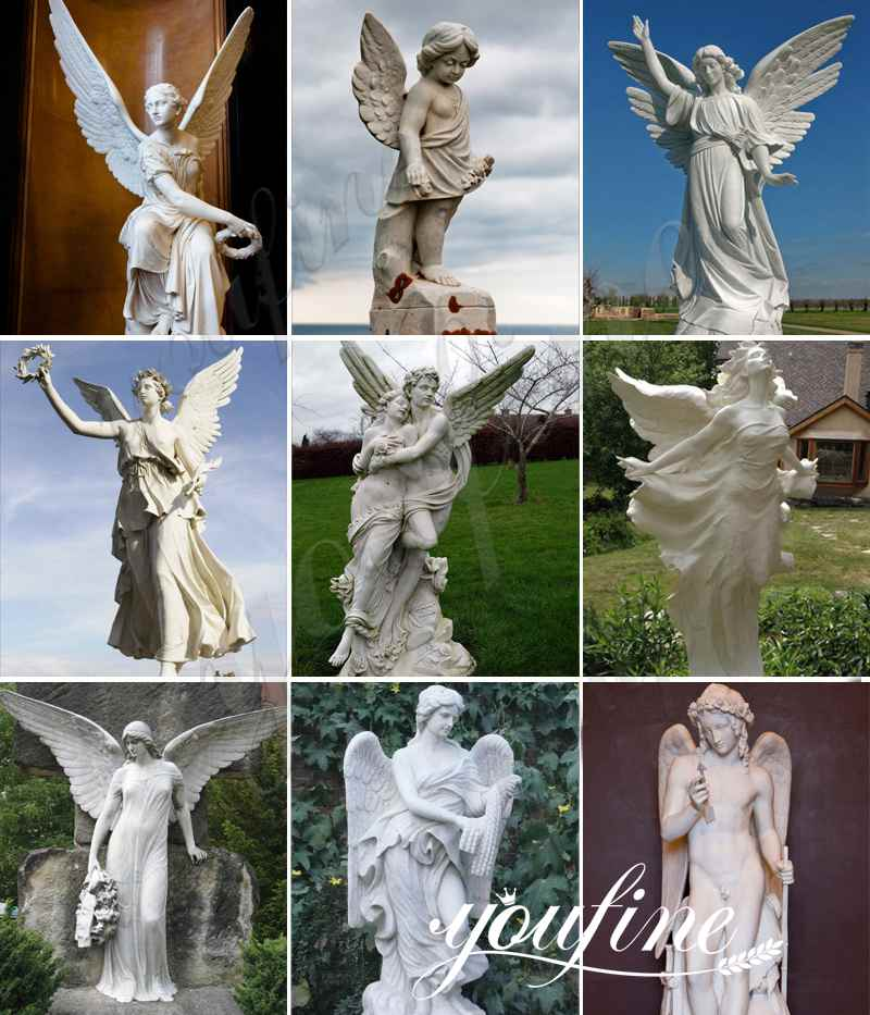 hand carved marble angel satues