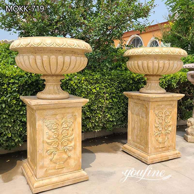 Wholesale Beige Marble Flower Pots Antique Style Garden Decor MOKK-719