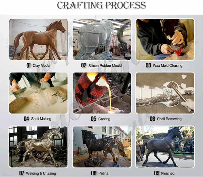 process of bronze horse rider statue