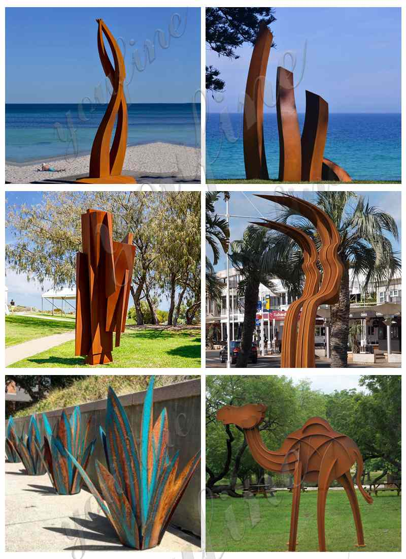 Abstract Rusty Corten Sculpture Garden Decor