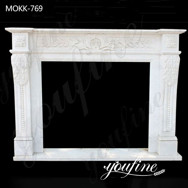 Classic Hand Carved Italian Marble Tile Fireplace Mantel Factory Supply