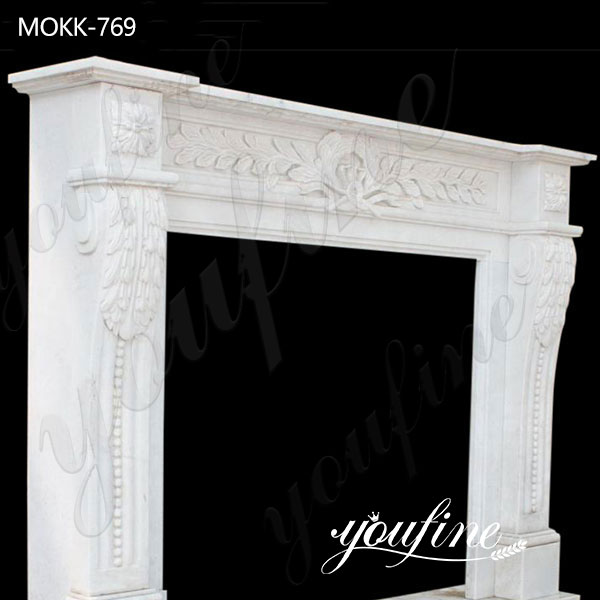 Classic Hand Carved Italian Marble Tile Fireplace Mantel