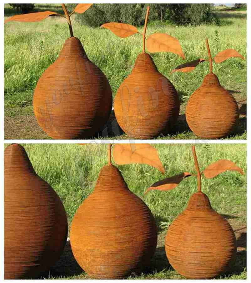 Corten Steel Pear Sculptures from Factory Supply