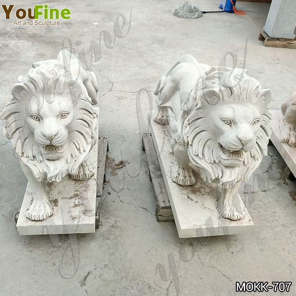 Door Decoration Marble Standing Lion Statues Factory MOKK-707