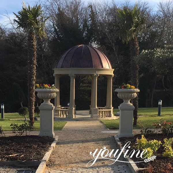 Feedback Large Beige Marble Gazebo Install in Ireland Client's Outdoor Garden