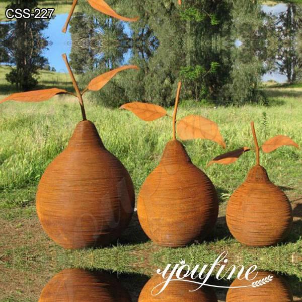 Garden Rusty Corten Steel Pear Sculptures from Factory Supply