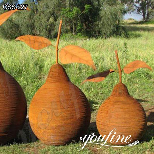 Garden Rusty Corten Steel Pear Sculptures