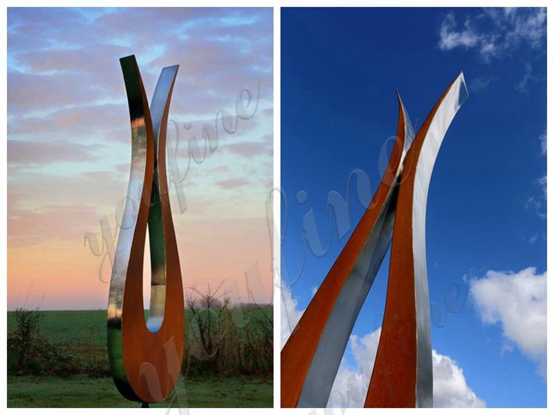 Garden Stainless Steel and Corten Tulip Sculpture