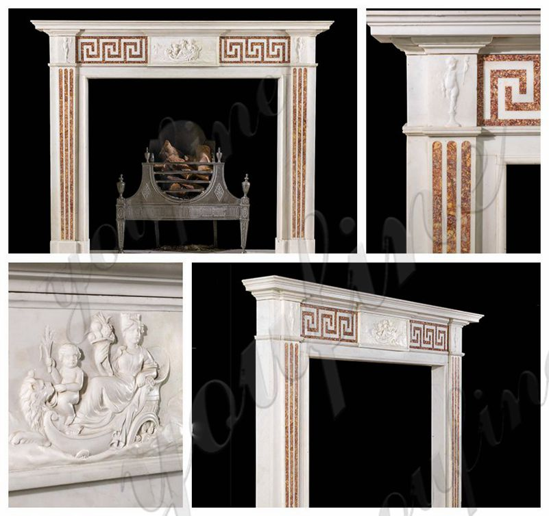 Georgian Style Marble Tile Fireplace Facing Interior Decoration on Sale