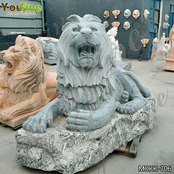 Grey Marble Lion Statue Zoo Decoration China Factory MOKK-706