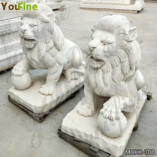 Hot Sale White Marble Sitting Lion Statues with Paw on Ball MOKK-708