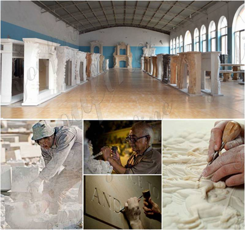 Italian Marble Tile Fireplace Mantel Factory Supply
