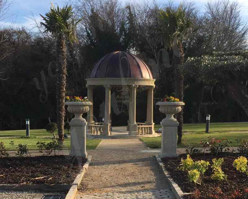 Large Beige Marble Gazebo Install in Ireland Client's Outdoor Garden