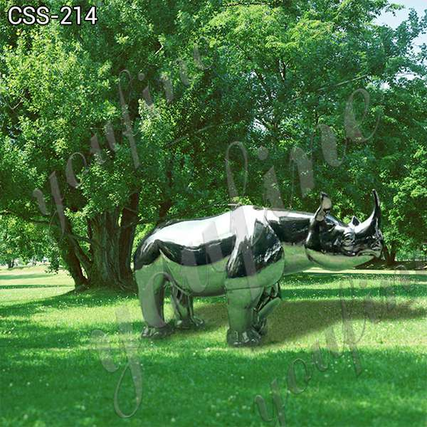 Large Mirror Polished Stainless Steel Rhinoceros Sculpture for Sale for Sale