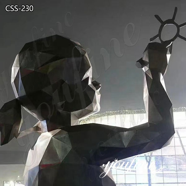 Large Modern Stainless Steel Girl Sculpture for Sale