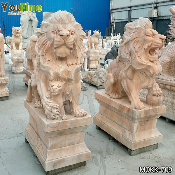 Beige Marble Lion Statues with Ball for Driveway Suppliers MOKK-709