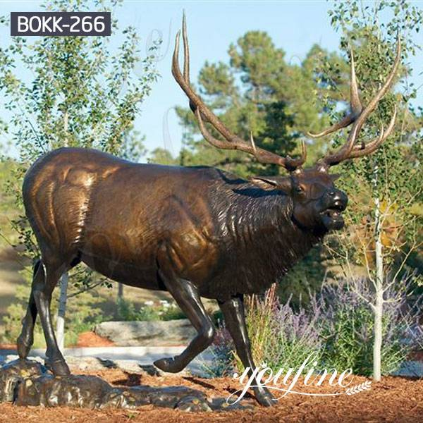 Life Size Bronze Elk Outdoor Statue Garden Decor for Sale BOKK-266