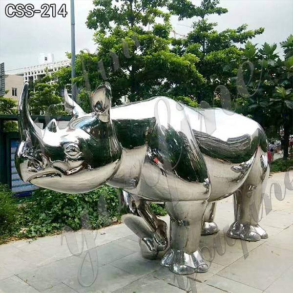 Large Mirror Polished Stainless Steel Rhinoceros Sculpture for Sale for Sale CSS-214
