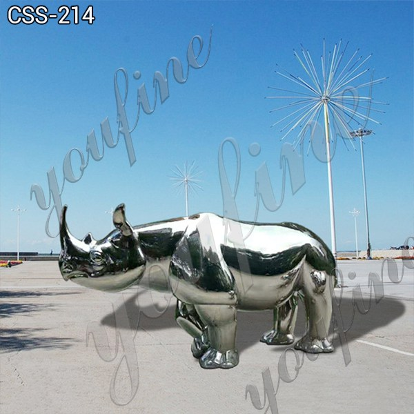 Mirror Polished Stainless Steel Rhinoceros Sculpture for Sale