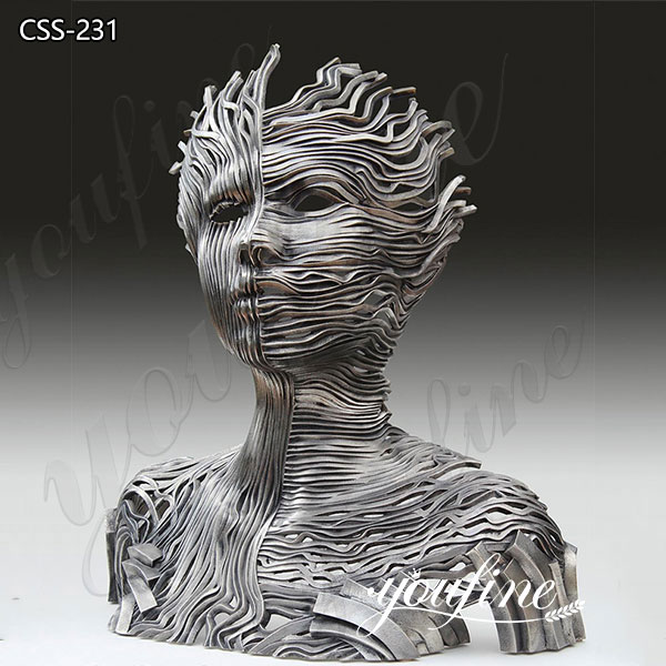 Modern Abstract Stainless Steel Human Figure Sculpture for Sale