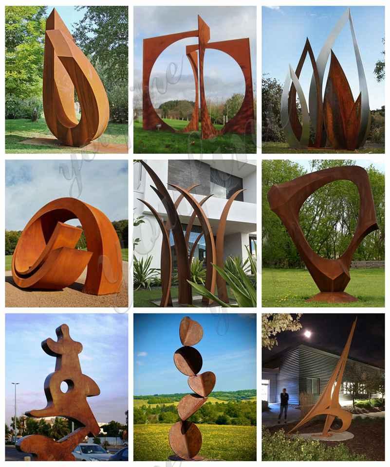 Outdoor Abstract Rusty Corten Sculpture Garden Decor