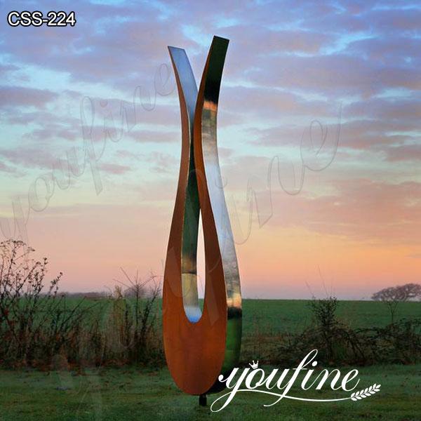 Outdoor Garden Stainless Steel and Corten Tulip Sculpture Suppliers