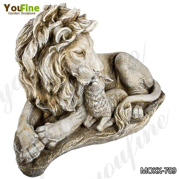 Outdoor Marble Lion and Goat Statues for Driveway Suppliers MOKK-759