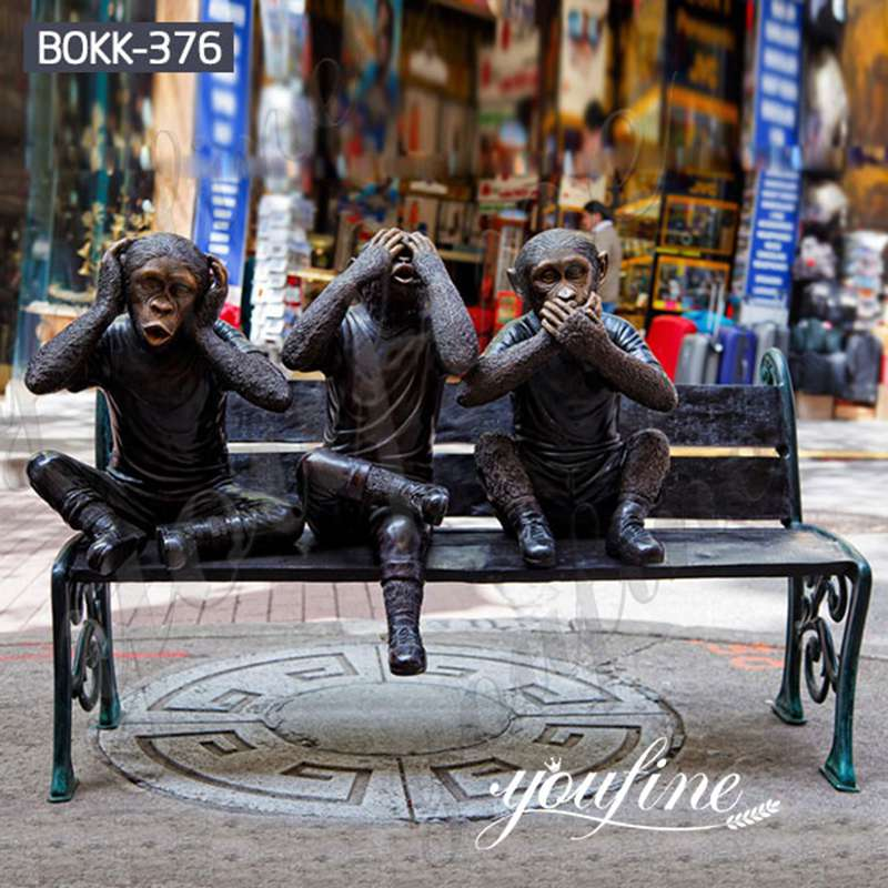 Outdoor Three Wise Monkey Bronze Statues from Factory Supply BOKK-376