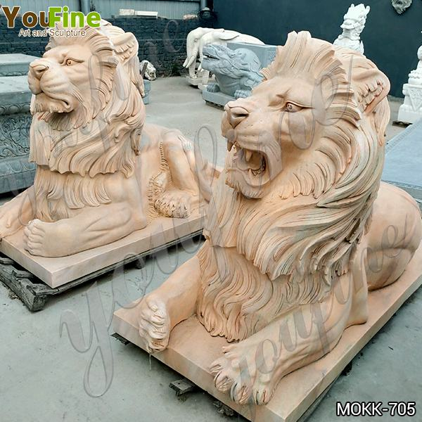 Porch Decoration Marble Animal Lion Statue China Supplier MOKK-705