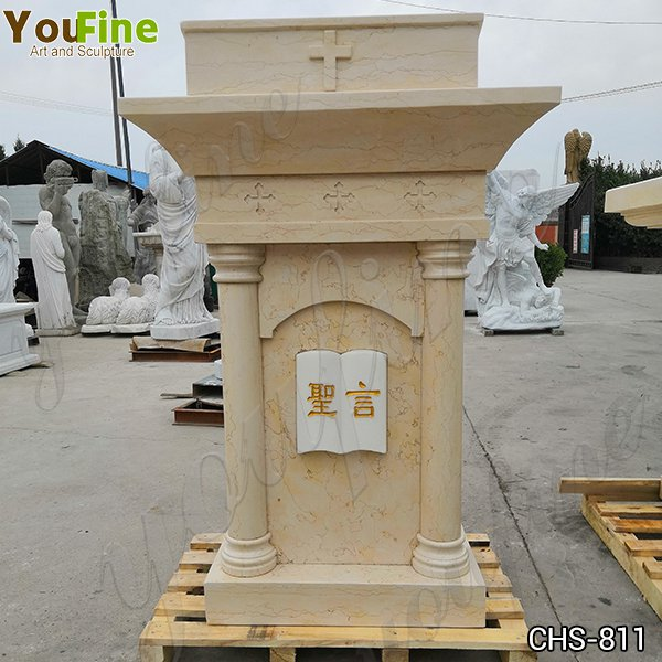 Religious Life Size Natural Beige Marble Church Pulpit for Sale